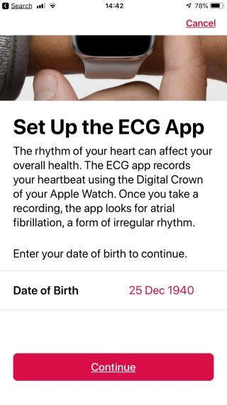 Screenshot: ECG App Setup